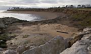 Bay formed by rapid coastal erosion at East Lane, Bawdsey, Suffolk, England