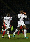 Ricardo Santos celebrates his first goal of the game during the EFL Sky Bet League 2 match between Leyton Orient and Barnet at the Matchroom Stadium, London, England on 7 January 2017. Photo by Jack Beard.