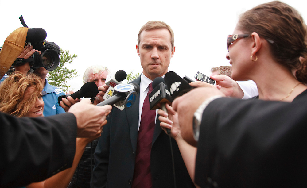Steve Yzerman holds back emotions as he speaks to reporters following the funeral for his former Detroit Red Wings teammate Bob Probert in Windsor, Ontario,July 9, 2010, after Probert's sudden death earlier this week at the age of 45.<br /> The Canadian Press/GEOFF ROBINS