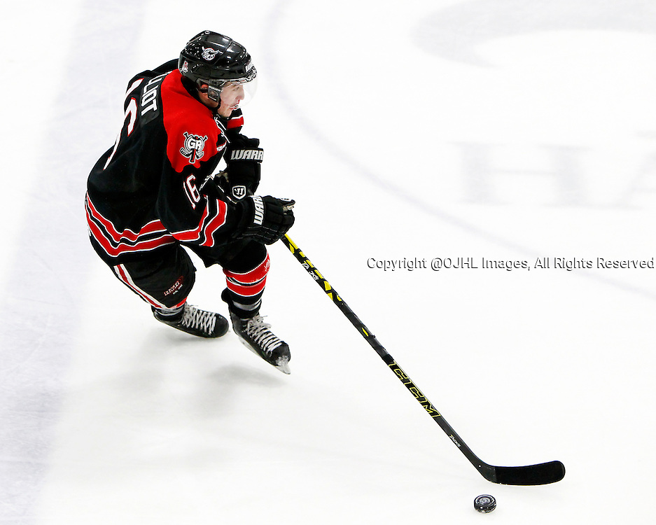 GEORGETOWN, ON - Oct 10, 2015 : Ontario Junior Hockey Leagaue game action between Buffalo and Georgetown, Ashur Elliot #16 skates with the puck during the first period.<br /> (Photo by Brian Watts / OJHL Images)