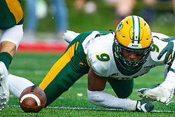 NORMAL, IL - October 05: Marquise Bridges eyes a loose ball that is tumbling away from himself and Austin Nagel during a college football game between the ISU (Illinois State University) Redbirds and the North Dakota State Bison on October 05 2019 at Hancock Stadium in Normal, IL. (Photo by Alan Look)