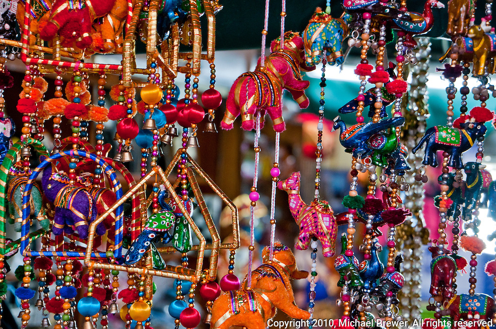 Colorful Indian decorative mobiles in a shop in Little India in Singapore