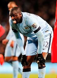 Manchester City's Yaya Toure reacts after a lung bursting run - Photo mandatory by-line: Matt McNulty/JMP - Mobile: 07966 386802 - 04/03/2015 - SPORT - football - Manchester - Etihad Stadium - Manchester City v Leicester City - Barclays Premier League