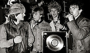 U2 presented with Gold Disc at Island Records for the October LP - London 1982