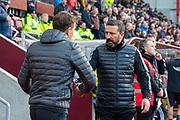 Aberdeen manager Derek McInnes shakes hands with Heart of Midlothian manager Daniel Stendel before the Ladbrokes Scottish Premiership match between Heart of Midlothian FC and Aberdeen FC at Tynecastle Stadium, Edinburgh, Scotland on 29 December 2019.