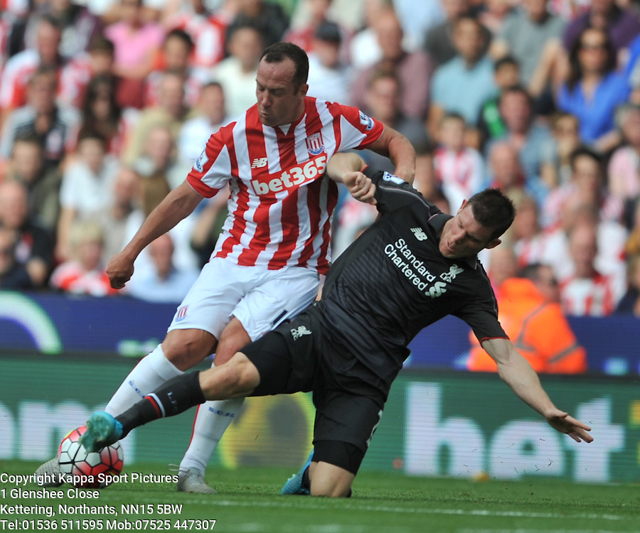 JAMES MILNER LIVERPOOL, attacks CHARLIE ADAM, STOKE CITY, Liverpool FC, Stoke City v Liverpool, Premiership, Britannia Stadium Sunday 9th August 2015Stoke City v Liverpool, Premiership, Britannia Stadium Sunday 9th August 2015