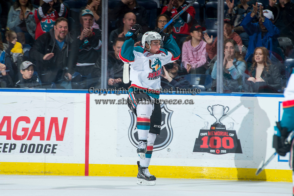 KELOWNA, CANADA - NOVEMBER 11: Liam Kindree #26 of the Kelowna Rockets celebrates a first period goal against the Red Deer Rebels on November 11, 2017 at Prospera Place in Kelowna, British Columbia, Canada.  (Photo by Marissa Baecker/Shoot the Breeze)  *** Local Caption ***