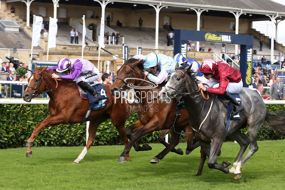 GRACEFUL MAGIC (5) ridden by Charles Bishop and trained by Eve Johnson-Houghton winning The British Stallion Studs EBF Carrie Red Fillies Nursery Handicap Stakes over 6f (£50,000)   during the second day of the St Leger Festival at Doncaster Racecourse, Doncaster, United Kingdom on 12 September 2019.