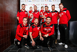 Richard O'Donnell, Aaron Wilbraham, Marlon Pack, Nathan Baker, Alex Pearce, Joe Bryan, Scott Wagstaff and Derrick Williams of Bristol City pose during the Player Sponsors' Evening in the Sports Bar & Grill at Ashton Gate - Mandatory byline: Rogan Thomson/JMP - 11/04/2016 - FOOTBALL - Ashton Gate Stadium - Bristol, England - Bristol City Player Sponsors' Evening.