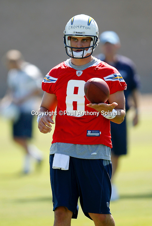 San Diego Chargers rookie quarterback Jonathan Crompton (8) looks on during a Chargers rookie minicamp on May 7, 2010 in San Diego, California. (©Paul Anthony Spinelli)