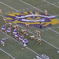 October 8, 2011; Baton Rouge, LA, USA; A overhead general view of the eye of the tiger logo at midfield where the Florida Gators offense lined up against the LSU Tigers defense during the second half at Tiger Stadium. LSU defeated Florida 41-11. Mandatory Credit: Derick E. Hingle-US PRESSWIRE / © Derick E. Hingle 2011