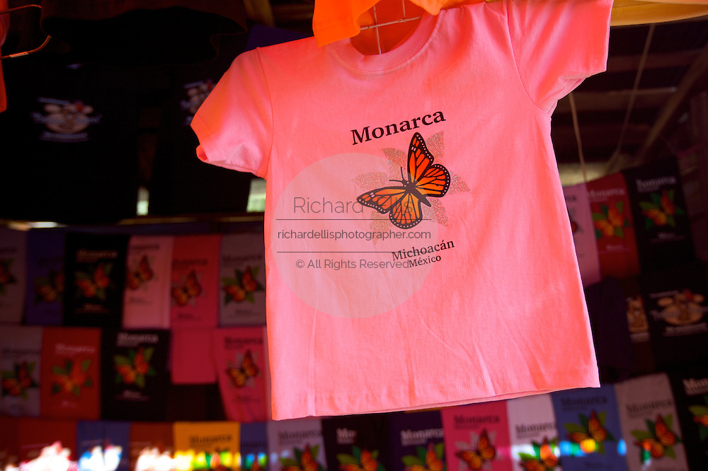 Monarch Butterflies souvenirs at the Monarch Butterfly Biosphere Reserve in El Rosario central Mexican in Michoacan State. Each year hundreds of millions Monarch butterflies mass migrate from the U.S. and Canada to Oyamel fir forests in the volcanic highlands of central Mexico. North American monarchs are the only butterflies that make such a massive journey—up to 3,000 miles (4,828 kilometers).