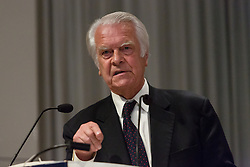 "© Licensed to London News Pictures. 14/06/2016. LONDON, UK.  LORD DAVID OWEN speaking at the Bruges Group European referendum Brexit event in favour of ""Leave"" on 13th June 2016. The Brexit event, was led by Lord David Owen who warned of the dangers to global stability posed by the EU withdrawing its support for NATO and committing to a European Defence Force. Owen called for a greater European commitment to NATO and the one billion euro budget of the EU's European External Action Service to be immediately transferred to NATO.  Photo credit: Vickie Flores/LNP"