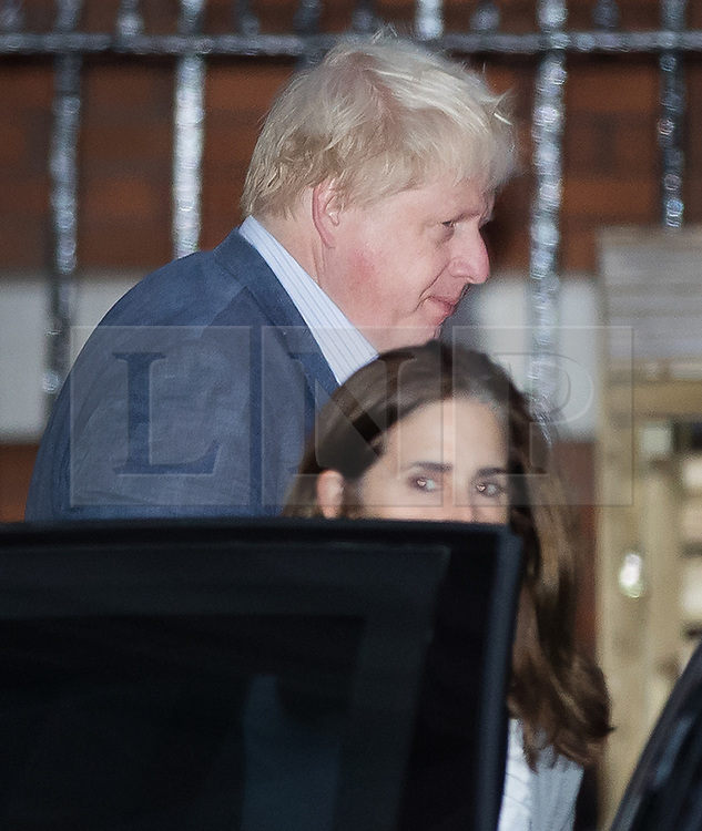 © Licensed to London News Pictures. 05/10/2017. London, UK. Foreign Secretary Boris Johnson leaves home with his wife Marina Wheeler the day after the Conservative Party conference ended. Prime Minister Theresa May's leadership has been called into question after a disastrous keynote speech on the final day of conference.   Photo credit: Peter Macdiarmid/LNP
