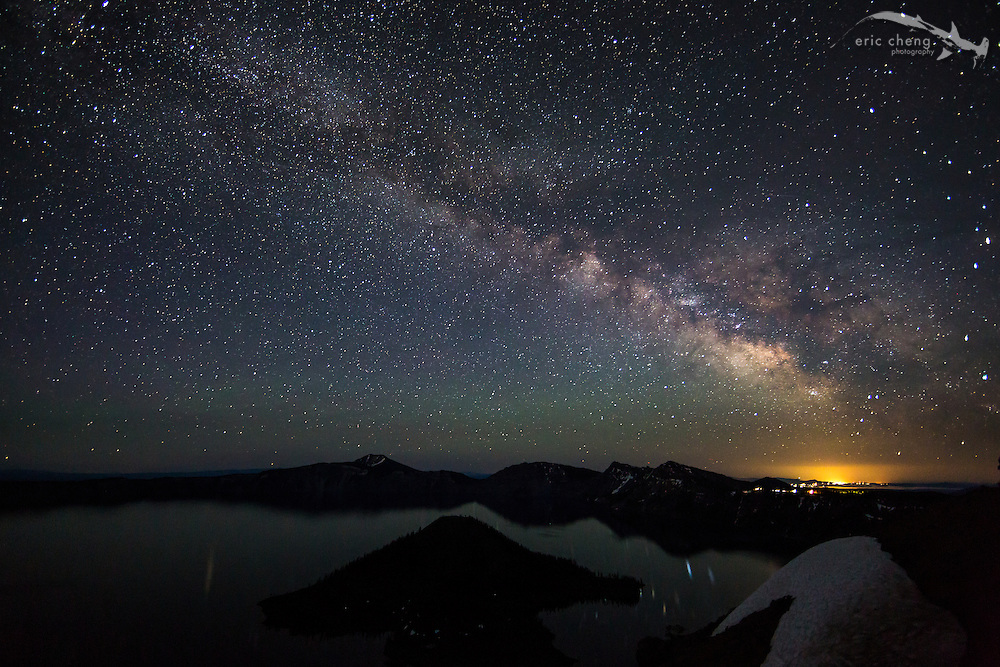 The Milky Way galaxy viewed from Watchman's Overlook, Crater Lake, Oregon.