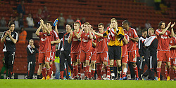LIVERPOOL, ENGLAND - Wednesday, May 7, 2008: Liverpool players celebrate beating Aston Villa 3-0 during the play-off final of the FA Premier League Reserve League at Anfield. L-R: Krisztian Nemeth, Ronald Huth, xxxx, Craig Lindfield, captain Stephen Darby, Andras Simon, goalkeeper Peter Gulacsi, Damien Plessis, Jordy Brouwer.(Photo by David Tickle/Propaganda)