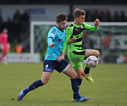 Forest Green Rovers's Forest Green Rovers's Elliott Frear jostles for the ball against AFC Telford's Neill Byrne. - Photo mandatory by-line: Nizaam Jones - Mobile: 07966 386802 - 21/02/2015 - SPORT - Football - Nailsworth - The New Lawn - Forest Green Rovers v AFC Telford - Vanarama Football Conference
