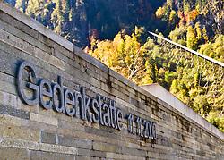 11.10.2010, Gedenkstätte, Kaprun, AUT, 10 Jahre Kaprun Katastrophe, Features, am 11.11. 2010 jährt sich die Brandkatastrophe von Kaprun das 10. Mal. Bei diesem Unglück mussten 155 Menschen ihr Leben lassen, im Bild der Schriftzug vor der Gedenkstätte im Hintergrund der Schrägaufzug und die Tunneleinfahrt, wo sich das Unglück ereignete, EXPA Pictures © 2010, PhotoCredit: EXPA/ J. Feichter / SPORTIDA PHOTO AGENCY