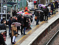&copy; Licensed to London News Pictures. 03/03/2017<br />  Wet and cold weather for London commuters at Pettswood Train station in Pettswood, Kent this morning.<br /> Photo credit :Grant Falvey/LNP