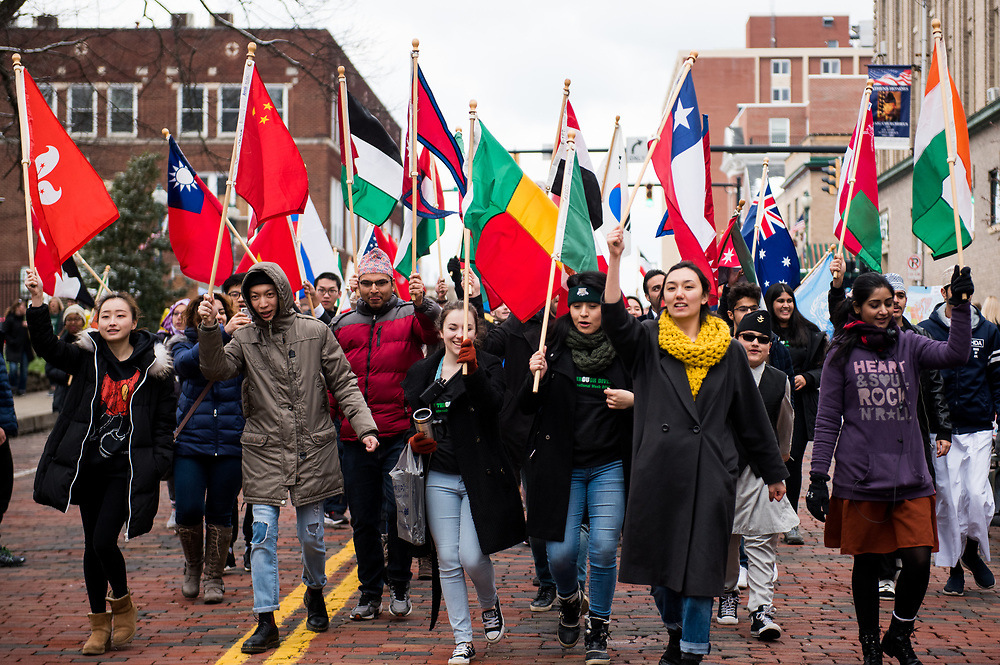 The Parade of Flags contained Ohio University students and faculty, along with anyone from the community who wanted to participate.  Each person held a national flag and marched down Union Street.