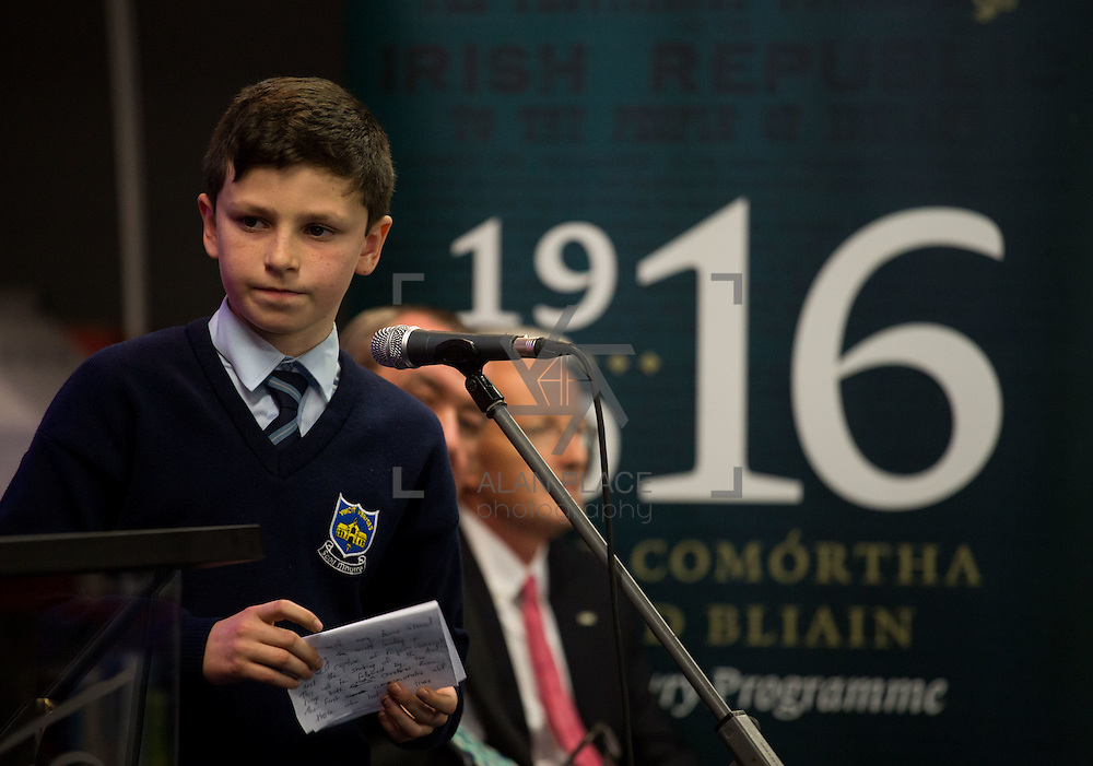 08/12/2015                <br /> Limerick City &amp; County Council launches Ireland 2016 Centenary Programme<br /> <br /> An extensive programme of events across the seven programme strands of the Ireland 2016 Centenary Programme was launched at the Granary Library, Michael Street, Limerick, last night (Monday, 7 December 2015) by Cllr. Liam Galvin, Mayor of the City and County of Limerick.<br /> <br /> Led by Limerick City &amp; County Council and under the guidance of the local 1916 Co-ordinator, the programme is the outcome of consultations with interested local groups, organisations and individuals who were invited to participate in the planning and implementation of events and initiatives during 2016.  <br /> <br /> Performing during the event were, St. Mary's Boys School, Abbeyfeale Co. Limerick. Picture: Alan Place