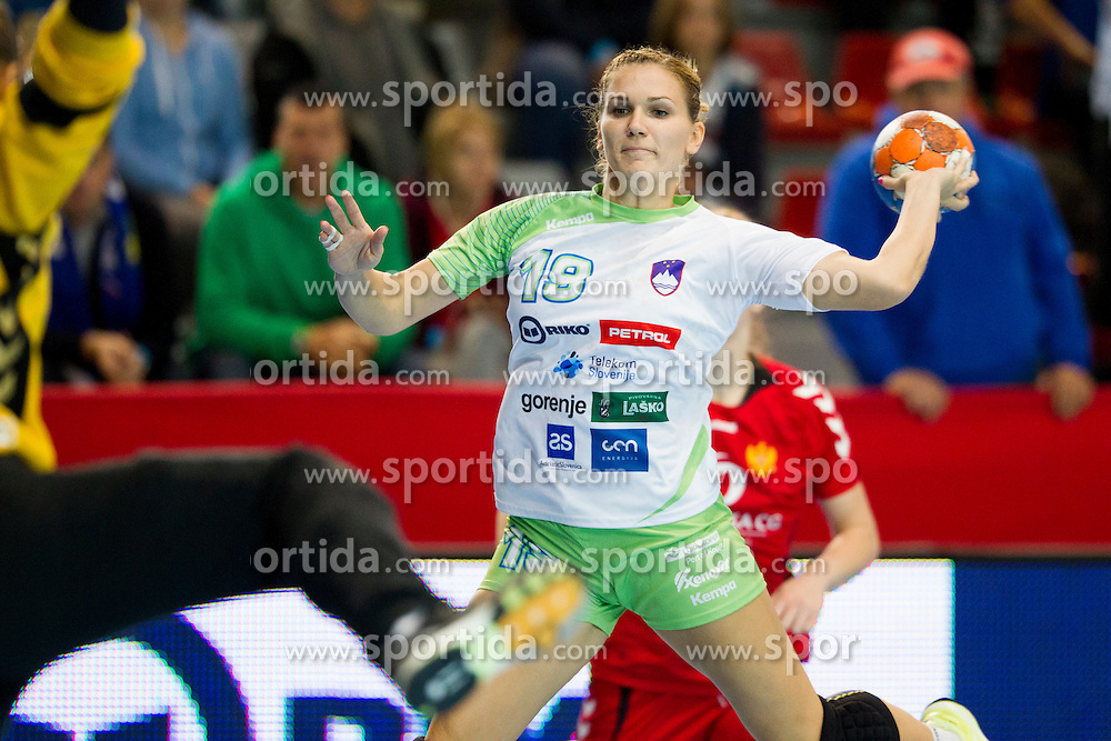 Neli Irman of Slovenia during handball match between Women National Teams of Slovenia and Montenegro in 2016 Women's European Championship Qualification, on October 11, 2015 in Arena Kodeljevo, Ljubljana, Slovenia. Photo by Urban Urbanc / Sportida