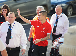 LIVERPOOL, ENGLAND - Monday, May 9, 2016: Liverpool's Philippe Coutinho Correia waves to supporters as he arrives at the launch of the New Balance 2016/17 Liverpool FC kit at a live event in front of supporters at the Royal Liver Building on Liverpool's historic World Heritage waterfront. (Pic by Lexie Lin/Propaganda)
