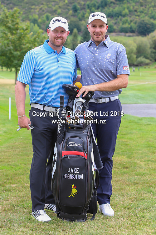 Matthew Hoare & Jake Higginbottom, Day 1 of the 2018 ISPS Handa New Zealand Golf Open. Millbrook golf course, Arrowtown, New Zealand. Thursday 1 March 2018. © Copyright Photo: Richard Greenfield / www.photosport.nz