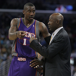 03 December 2008: Phoenix Suns forward Amare Stoudemire (1) talks with head coach Terry Porter during a 104-91 victory by the New Orleans Hornets over the Phoenix Suns at the New Orleans Arena in New Orleans, LA..