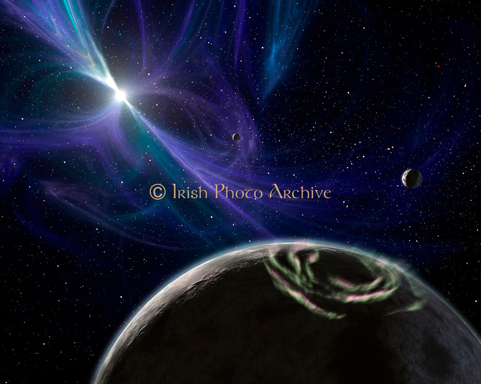 An artist's concept depicting the pulsar planet system.