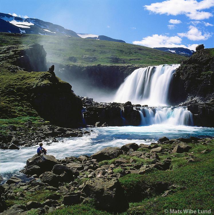 Múlafoss í Fjarðará á leið yfir Fjarðarheiði, Seyðisfjarðarhreppur /Mulafoss waterfall in river Fjardara on the way over Fjardarheidi mountain plateau. Seydisfjardarhreppur.