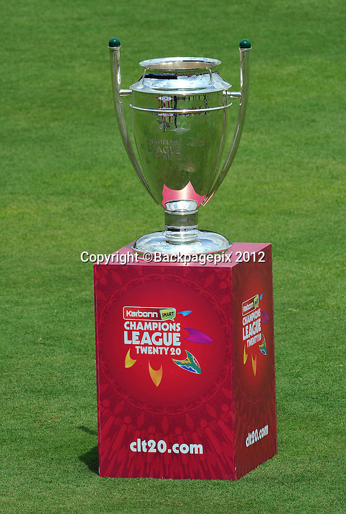 GV of the 2012 Champions League Twenty20 trophy during the 2012 Champions League Twenty20 cricket match between the Perth Scorchers and the Auckland Aces at Supersport Park in Centurion, South Africa on 23 October 2012 ©Chris Ricco/BackpagePix