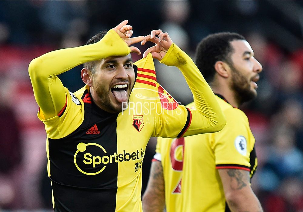 Goal - Roberto Pereyra (37) of Watford celebrates after he scores a goal to give a 0-3 lead during the Premier League match between Bournemouth and Watford at the Vitality Stadium, Bournemouth, England on 12 January 2020.