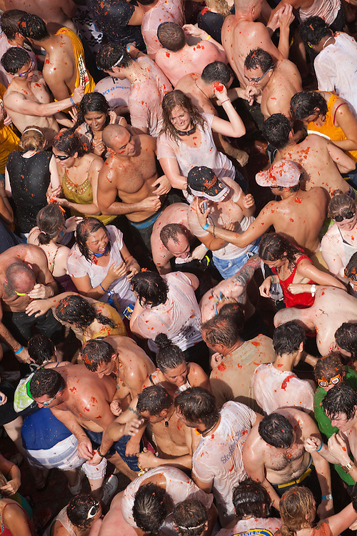 August 31, 2011. Tomato fight during the tomatina. An estimated 35,000 people threw 120 tons of tomatoes in the world's biggest tomato fight held annually the last Wednesday of August in the Spanish town of Buñol, Valencia, Spain.