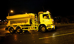 © Licensed to London News Pictures. 29/11/2012..Boulby, Cleveland, England..Gritters leave the Boulby Potash Mine near Loftus in Cleveland during the night to start spreading salt on the regions roads to try and keep on top of the wintery blast that is due to hit the area this week...Photo credit : Ian Forsyth/LNP