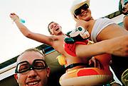 Group of friends dancing and messing around, Bora Bora Bar, Playa D'en Bossa, Ibiza 2005