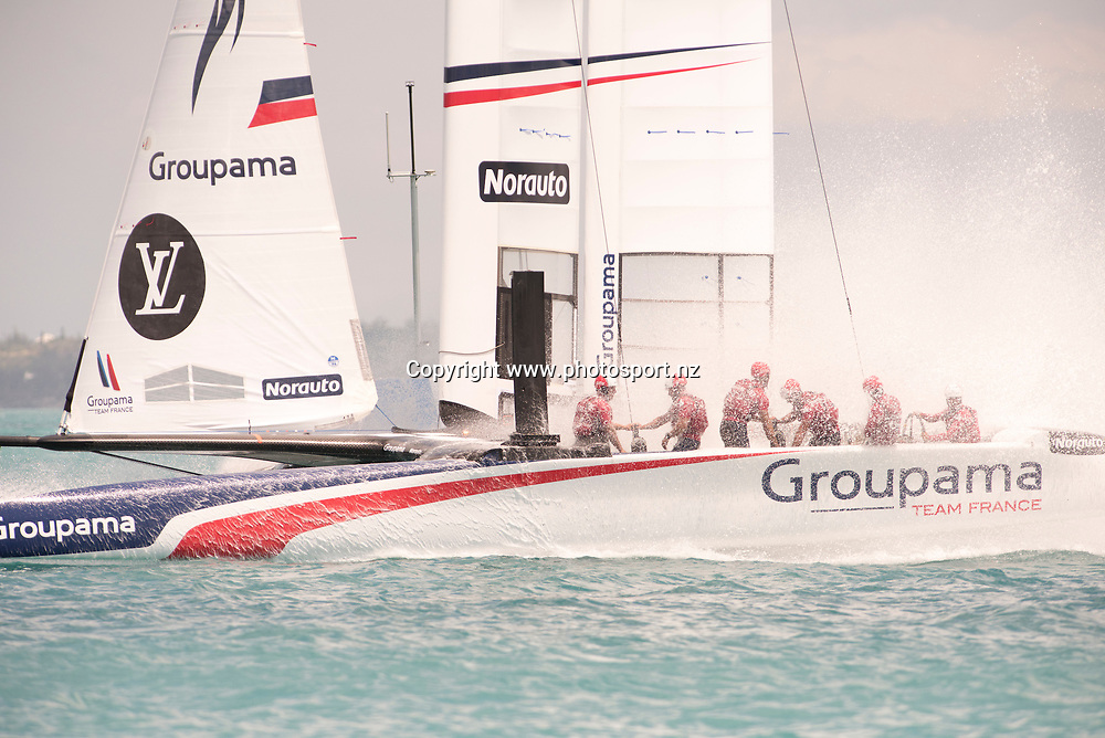 Race 13,  Groupama Team France finish ahead of Landrover BAR (GBR). Day three of the America's Cup Qualifiers, Bermuda 29/5/2017 . Copyright Image: Chris Cameron / www.photosport.nz