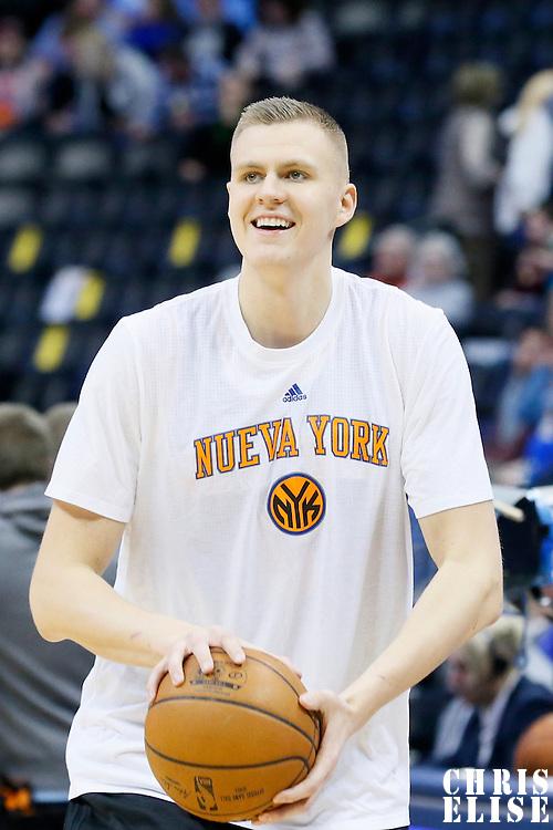 08 March 2016:  New York Knicks forward Kristaps Porzingis (6) warms up prior to the Denver Nuggets 110-94 victory over the New York Knicks, at the Pepsi Center, Denver, Colorado, USA.