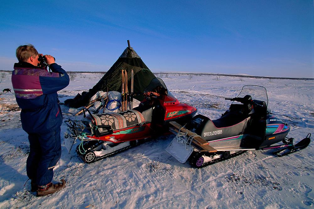 Saami reindeer herddsmen Jonna Utsi, Kautokeino, Finnmark, Norway
