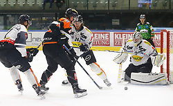 13.11.2016, Merkur Eisarena, Graz, AUT, EBEL, Moser Medical Graz 99ers vs Dornbirner Eishockey Club, 18. Runde, im Bild von links Corin Konradsheim (#7, Dornbirner Eishockey Club), Brendon Nash (#4, Moser Medical Graz 99ers), Michael Caruso (#24, Dornbirner Eishockey Club) und Florian Hardy (#49, Dornbirner Eishockey Club) // during the Erste Bank Icehockey League 18th Round match between Moser Medical Graz 99ers and Dornbirner Eishockey Club at the Merkur Ice Arena, Graz, Austria on 2016/11/13, EXPA Pictures © 2016, PhotoCredit: EXPA/ Erwin Scheriau