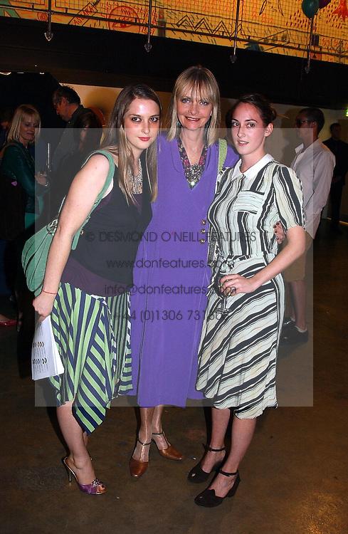 Left to right, DAISY DE VILLENEUVE, JAN DE VILLENEUVE and POPPY DE VILLENEUVE at a party to celebrate the opening of an exhibition by Daisy de Villeneuve at the Fashion and Textile Museum, Bermondsey Street, London SE1 on 25th June 2004.