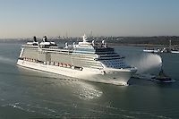 Celebrity Eclipse, the new cruise ship from Celebrity Cruises arrives in Southampton..