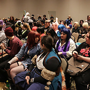 People gather for a seminar Sunday December 7, 2014 during Aniwave 2014 at the Wilmington Convention Center in Wilmington, N.C. (Jason A. Frizzelle)