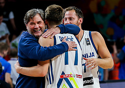 Branko Cveticanin, dr. med., Luka Doncic of Slovenia and Sasa Zagorac of Slovenia celebrate after winning during basketball match between National Teams of Slovenia and Latvia at Day 13 in Round of 16 of the FIBA EuroBasket 2017 at Sinan Erdem Dome in Istanbul, Turkey on September 12, 2017. Photo by Vid Ponikvar / Sportida