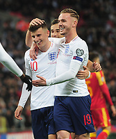 Football - 2019 / 2020 UEFA European Championships Qualifier - Group A: England vs. Montenegro<br /> <br /> James Maddison making his England debut, celebrates goal no 6 with Mason Mount at Wembley Stadium.<br /> <br /> This game is England men's 1,000 international match.<br /> <br /> COLORSPORT/ANDREW COWIE