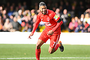 Jobi McAnuff of Leyton Orient (7) scores a goal and celebrates to make the score 0-3, his second goal of the game, during the Vanarama National League match between Harrogate Town and Leyton Orient at Wetherby Road, Harrogate, United Kingdom on 22 September 2018.