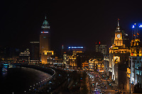 Shanghai, China - April 9, 2013: the bund at night at the city of Shanghai in China on april 9th, 2013