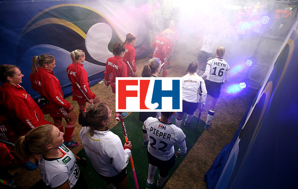 JOHANNESBURG, SOUTH AFRICA - JULY 14:  Players line up in the tunnel ahead of day 4 of the FIH Hockey World League Women's Semi Finals Pool A match between Germany and England at Wits University on July 14, 2017 in Johannesburg, South Africa.  (Photo by Jan Kruger/Getty Images for FIH)