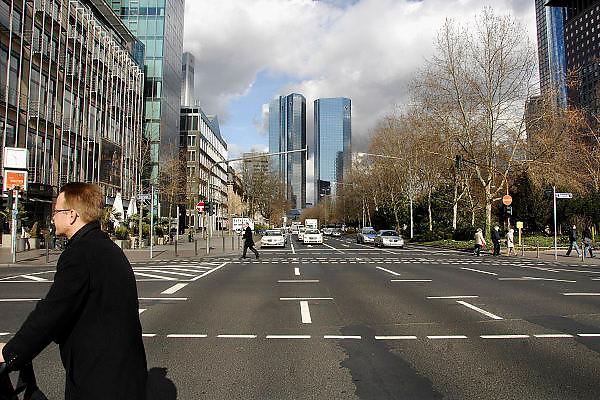 Duitsland, Frankfurt, 10-3-2008..Kantoor van de deutsche bank. Met zijn vele banken en de europese centrale bank, ecb, is frankfurt het financiele centrum van europa...Foto: Flip Franssen/Hollandse Hoogte