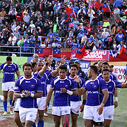 Manu Samoa honors its fans after defeating Fiji 36-31 in the consolation game at the USA Sevens Rugby at Sam Boyd Stadium, Las Vegas, Nevada, USA.  Photo by Barry Markowitz, 2/10/13.  Courtesy Samoa Tuna Processors/Tri Marine
